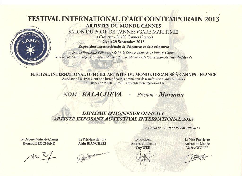 Certificate Artistes du Monde