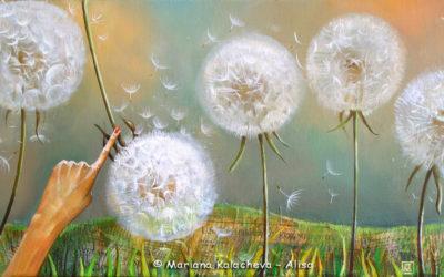 Dandelion's song, Fine art painting by Mariana Kalacheva