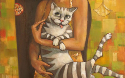 Girl and cat - fine art paintings Mariana Kalacheva