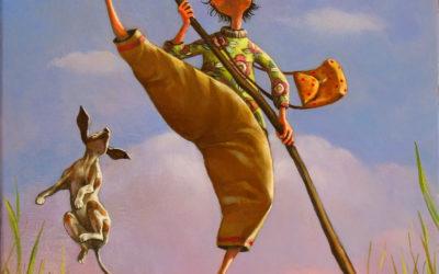 Jump pole - fine art paintings Mariana Kalacheva