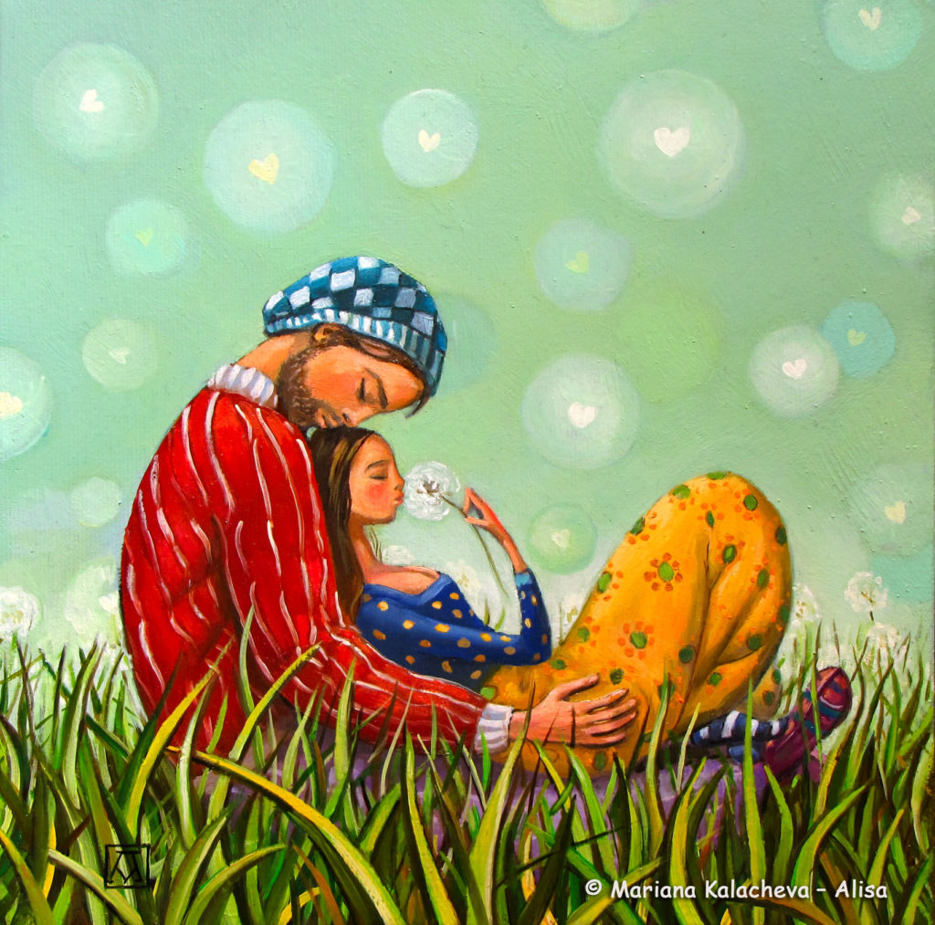 """""""Kissing you"""", fine art painting of Mariana Kalaacheva"""