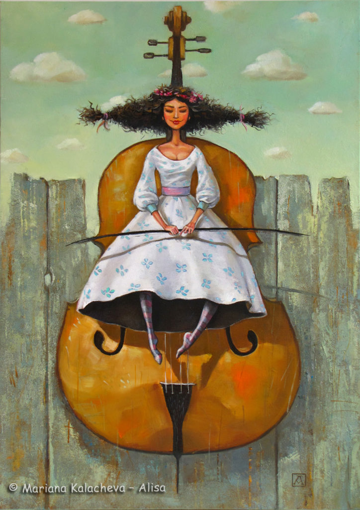 """She, the cellist"" Fine art painting by Mariana Kalacheva"