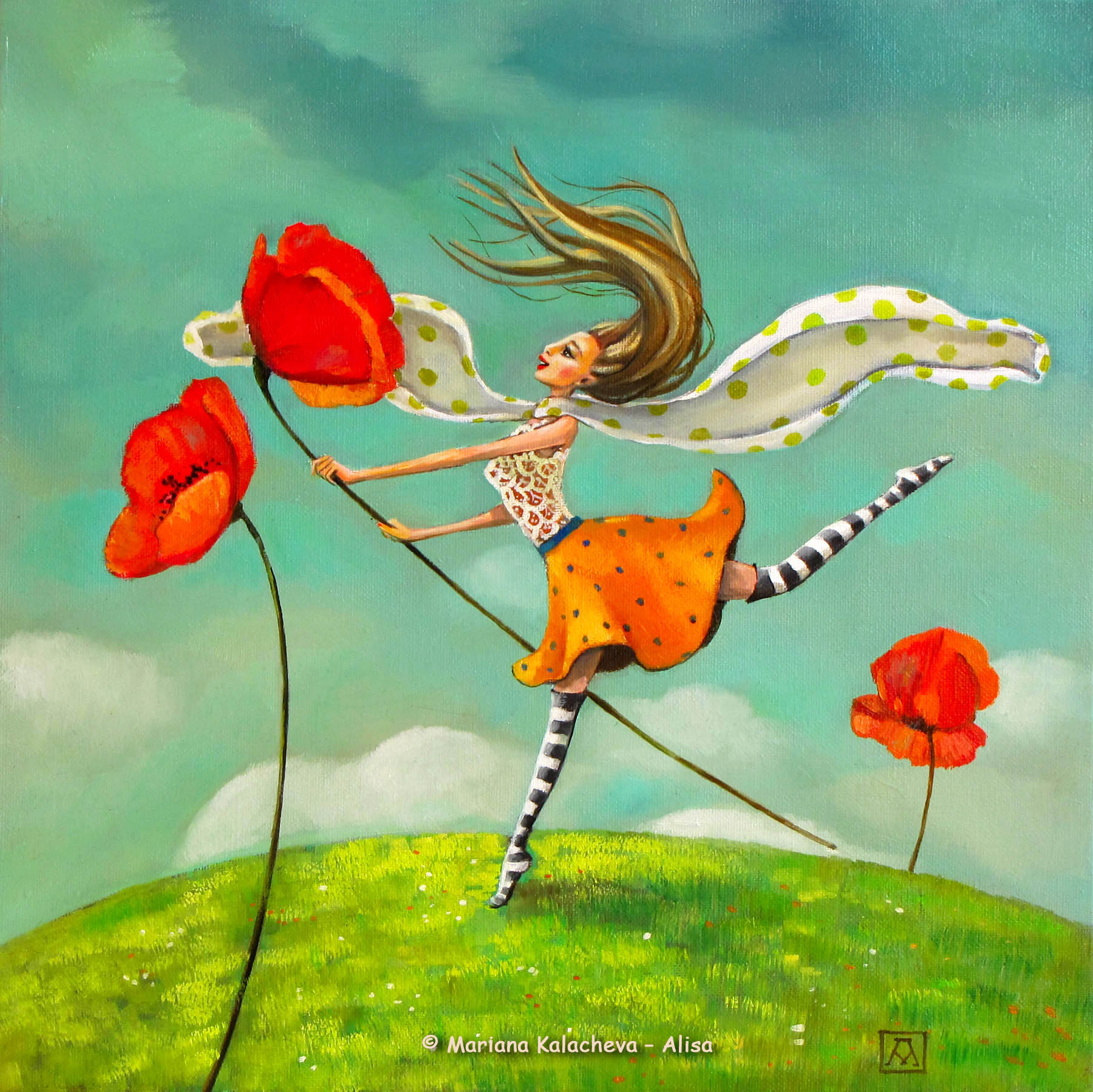 """To tame a poppy"" Fine art painting by Mariana Kalacheva"