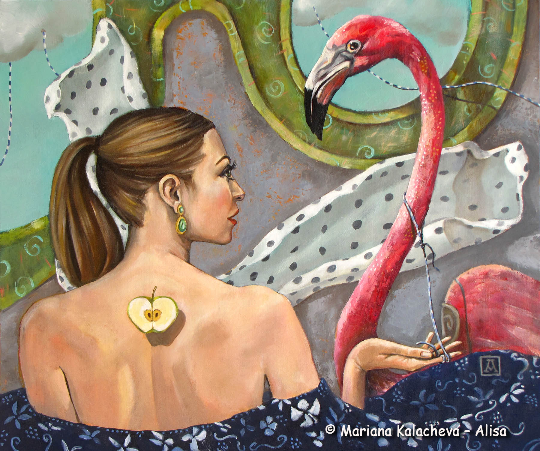"""""""To tame a flamingo"""" fine art by Mariana Kalacheva"""