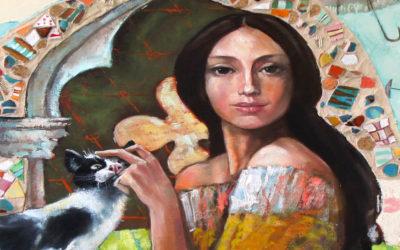 The flying umbrellas of Miss Mery; Fine art painting by Mariana Kalacheva;