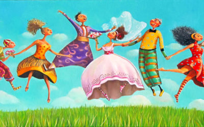 Wedding guests in the air ; Fine art painting by Mariana Kalacheva