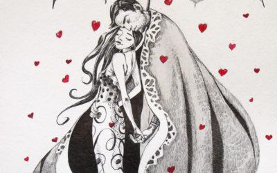 Simply red - drawing, fine art by Mariana Kalacheva