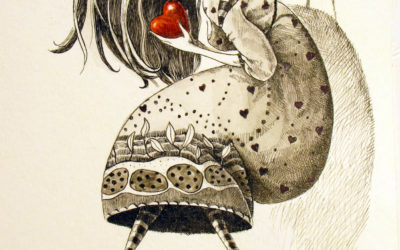 The heart collector - drawing, fine art by Mariana Kalacheva