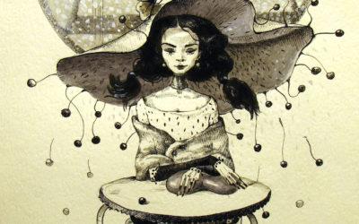 The heart thief_Ink, paper, gouache - drawing, fine art by Mariana Kalacheva