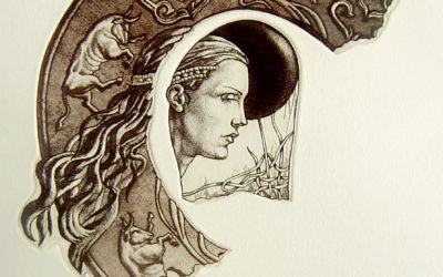 Artefacts- engraving, fine art by Mariana Kalacheva