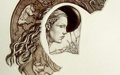 Artefacts- engraving, fine art by Mariana Kalacheva