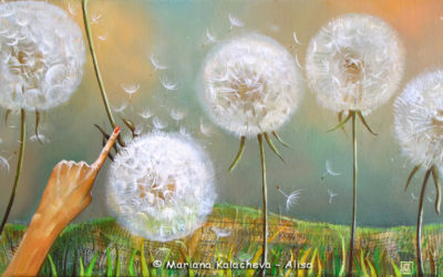 Dandelion's song, Fine art painting by Mariana Kalacheva