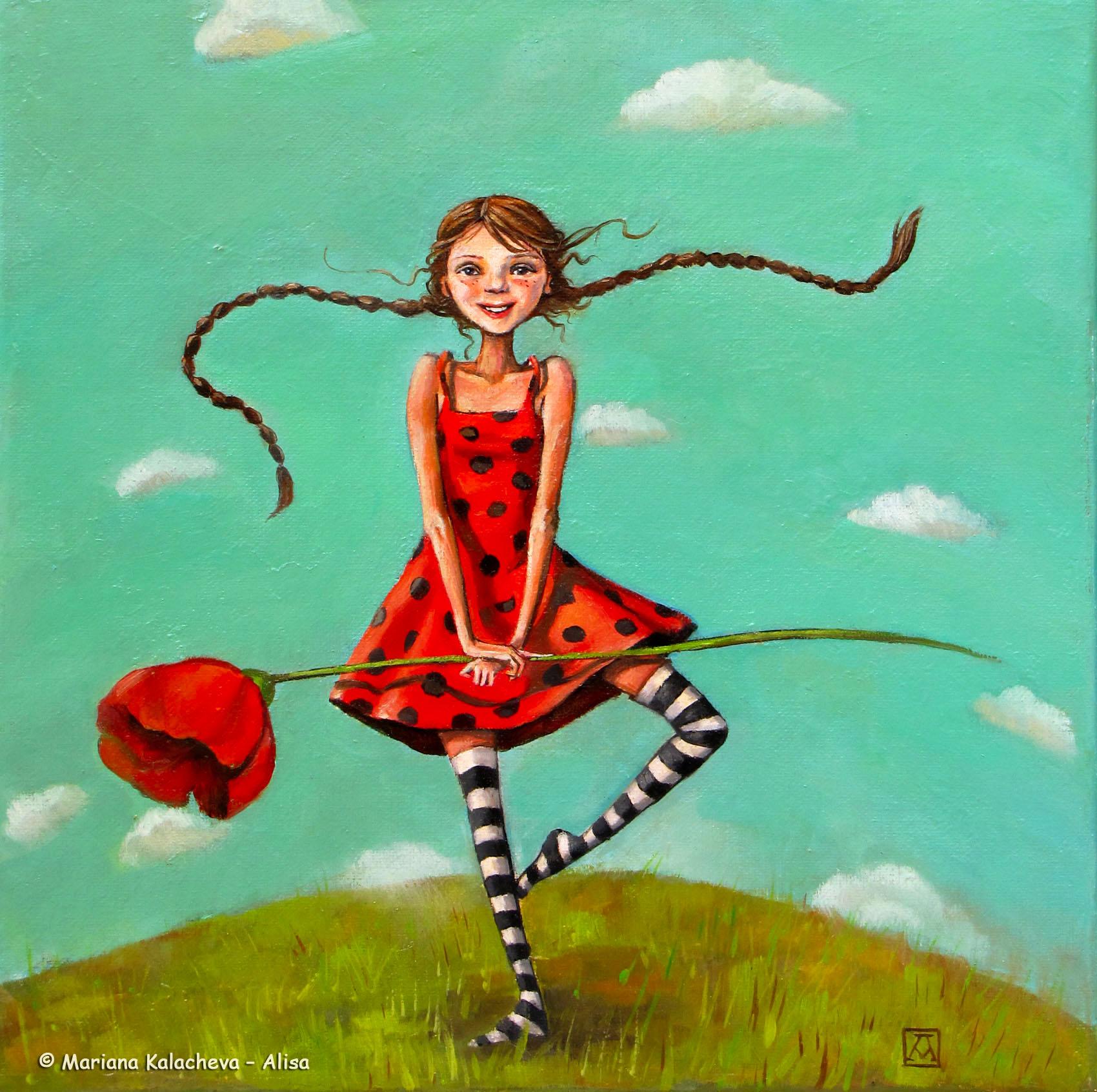 """Dance with a poppy"" Fine art painting by Mariana Kalacheva"