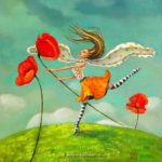 """""""To tame a poppy"""" Fine art painting by Mariana Kalacheva"""