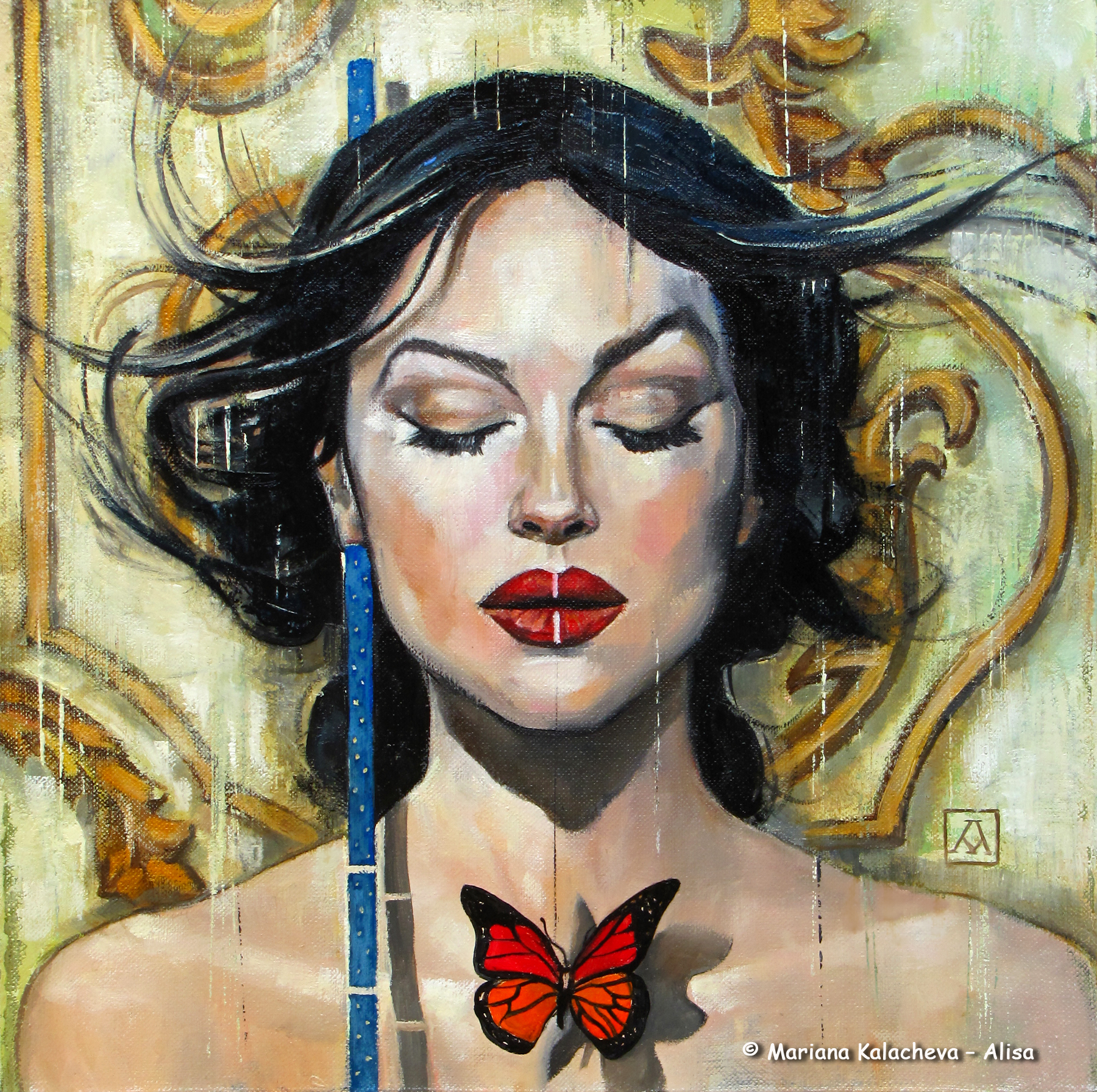 """To tame a butterfly"" fine art painting of Mariana Kalacheva"