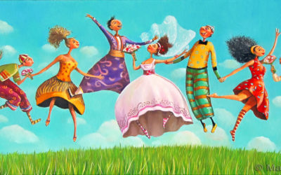 Wedding guests in the air - fine art paintings Mariana Kalacheva