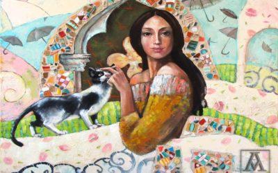 The flying umbrellas of Miss Merry ; Fine art painting by Mariana Kalacheva