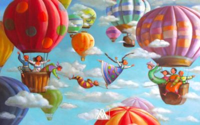 The tightrope dancer; Fine art painting by Mariana Kalacheva